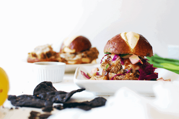 Apple Butter BBQ Sliders With Apple Slaw | homemade slider recipes, bbq slider recipes, apple butter recipe ideas, how to make a bbq slider, slider recipe ideas, pork slider recipes, slow cooker pork recipes, homemade apple slaw recipe, bbq pork toppings || The Butter Half via @thebutterhalf
