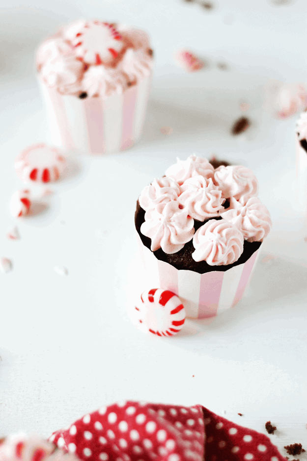 Pink Peppermint Buttercream Frosting | homemade frosting recipes, peppermint recide ideas, peppermint dessert recipes. peppermint frosting recipes, holiday frosting recipes || The Butter Half via @thebutterhalf #peppermint #frostingrecipe #holidaydesserts