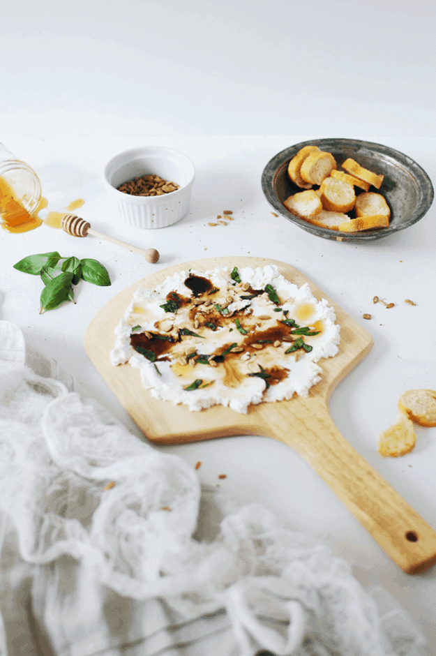 Goat Cheese And Basil Dip With Honey | homemade dip recipes, recipes using fresh cheese, easy dip recipes, dip recipe ideas, cheese dip recipes, recipes using goat cheese, ways to use fresh goat cheese, how to make a fresh cheese dip, homemade goat cheese recipes || The Butter Half via @thebutterhalf