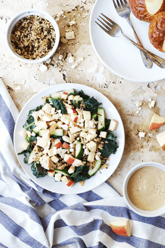 Fresh Kale Apple Salad with Wild Rice | fresh salad recipes, healthy salad recipes, apple salad recipes, salad recipes with fresh fruit, homemade salad recipes, recipes using wild rice, fall salad recipes, how to make a fall salad || The Butter Half via @thebutterhalf