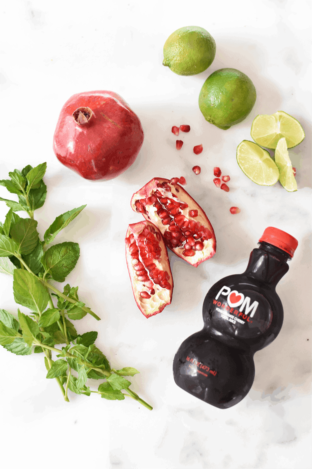 Holiday pomegranate mojito mocktail the butter half - Deseed pomegranate less one minute video ...