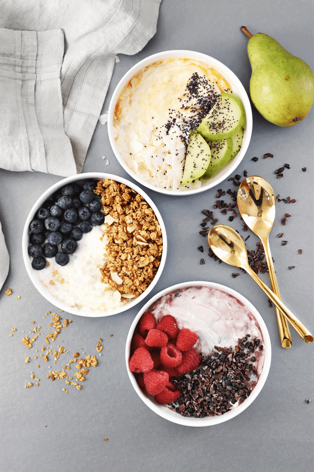 3-Ingredient Yogurt Breakfast Bowls 3 Ways | healthy breakfast recipes, homemade yogurt bowls, healthy yogurt recipes, yogurt recipe ideas, how to make a yogurt bowl, yogurt bowl recipes || The Butter Half via @thebutterhalf #yogurtbowl #healthybreakfast #yogurtbreakfast