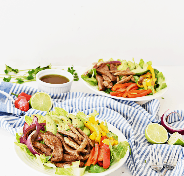Chipotle Lime Steak Fajita Salad | thebutterhalf.com