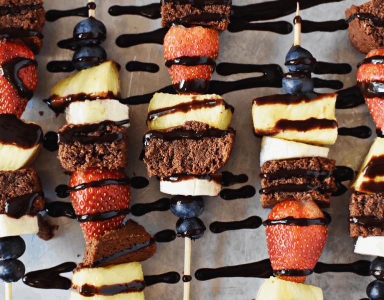 Gluten Free Brownie Fruit Kabobs | thebutterhalf.com