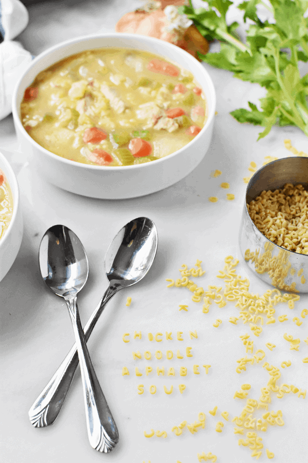 One Pot Homemade Chicken Noodle Alphabet Soup | The Butter Half