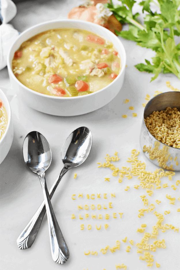 One Pot Homemade Chicken Noodle Alphabet Soup | one pot recipes, chicken noodle soup recipes, kid-friendly soup recipes, homemade alphabet soup, fun soup recipes, fall soup recipes, cool weather recipes, homemade soups and stews || The Butter Half via @thebutterhalf