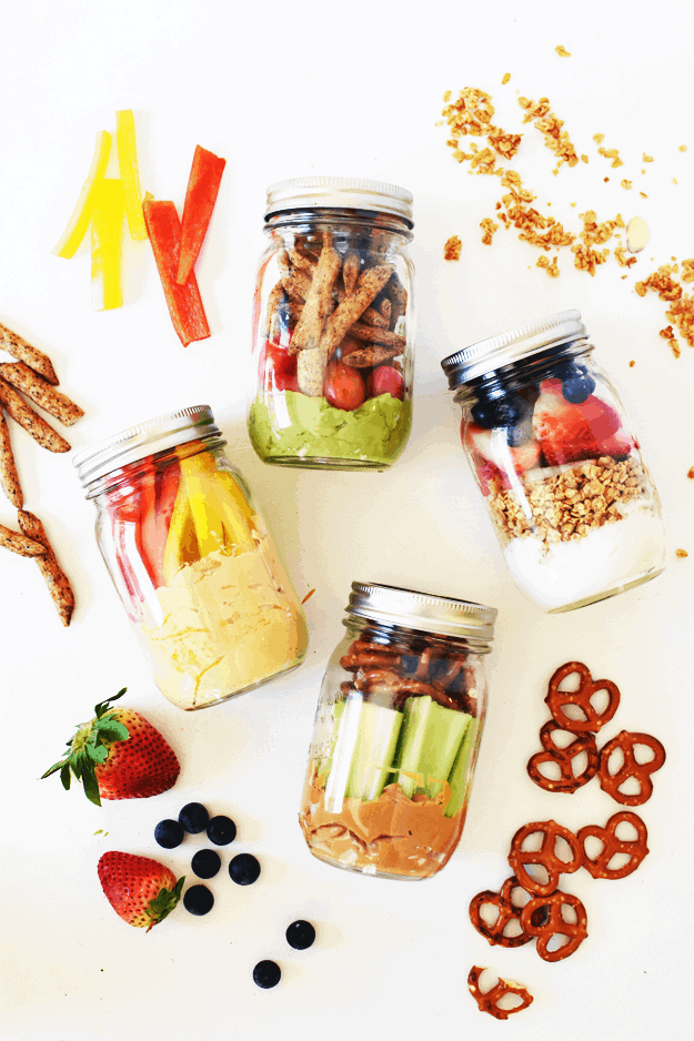 4 Healthy Grab-and-Go Snack Jars | healthy snack recipes, healthy snack jars, easy snack recipes, how to make a snack jar, healthy snack ideas, snack recipes healthy, snack jar ideas, on the go snack ideas || The Butter Half via @thebutterhalf