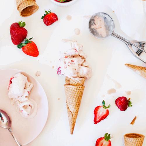 The Best No Churn Strawberry Ice Cream | no churn ice cream recipes, homemade ice cream recipes, how to make no churn ice cream, how to make homemade ice cream, homemade strawberry ice cream, strawberry ice cream recipes, easy ice cream recipes || The Butter Half via @thebutterhalf