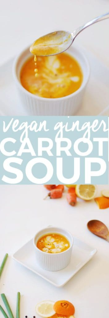 Vegan Carrot Ginger Soup | vegan soup recipes, carrot soup recipe, homemade soup recipes, easy soup recipes, fall soup recipes, recipes using fresh carrots, fresh carrot soup || The Butter Half via @thebutterhalf