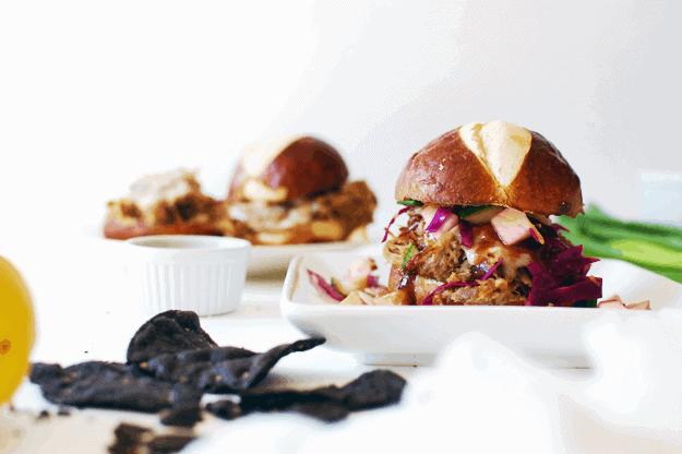 Apple Butter BBQ Sliders With Apple Slaw | homemade slider recipes, bbq slider recipes, apple butter recipe ideas, how to make a bbq slider, slider recipe ideas, pork slider recipes, slow cooker pork recipes, homemade apple slaw recipe, bbq pork toppings || The Butter Half via @thebutterhalf