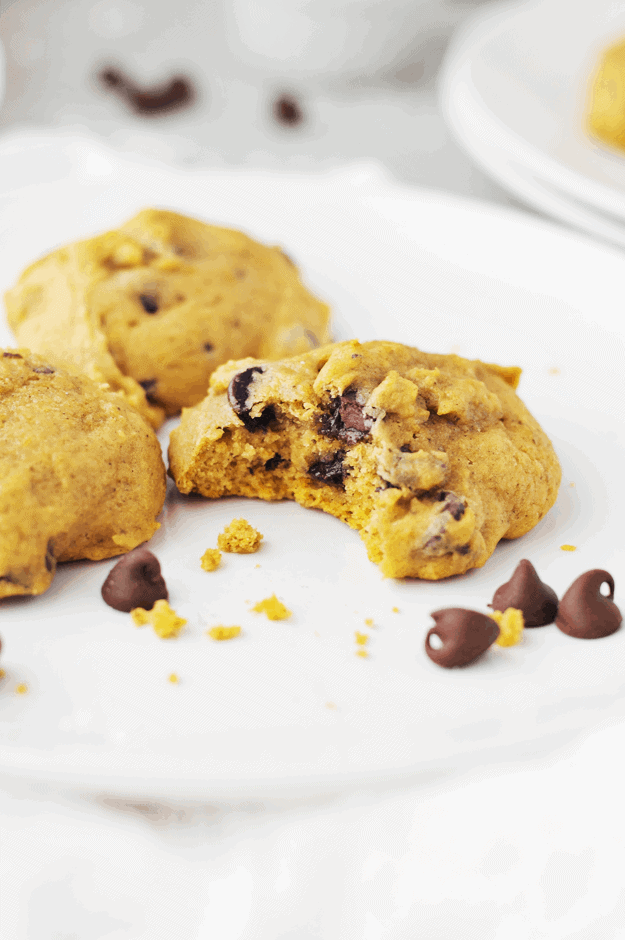 The Best Pumpkin Chocolate Chip Cookie Recipe | pumpkin flavored recipe ideas, homemade chocolate chip cookie recipes, recipe ideas for fall, fall themed dessert recipes, fall inspired recipes, pumpkin flavored cookie recipes, how to make homemade cookies, easy cookie recipes, pumpkin flavored desserts, #pumpkincookies #chocolatechipcookies #cookies #pumpkin #thebutterhalf || The Butter Half