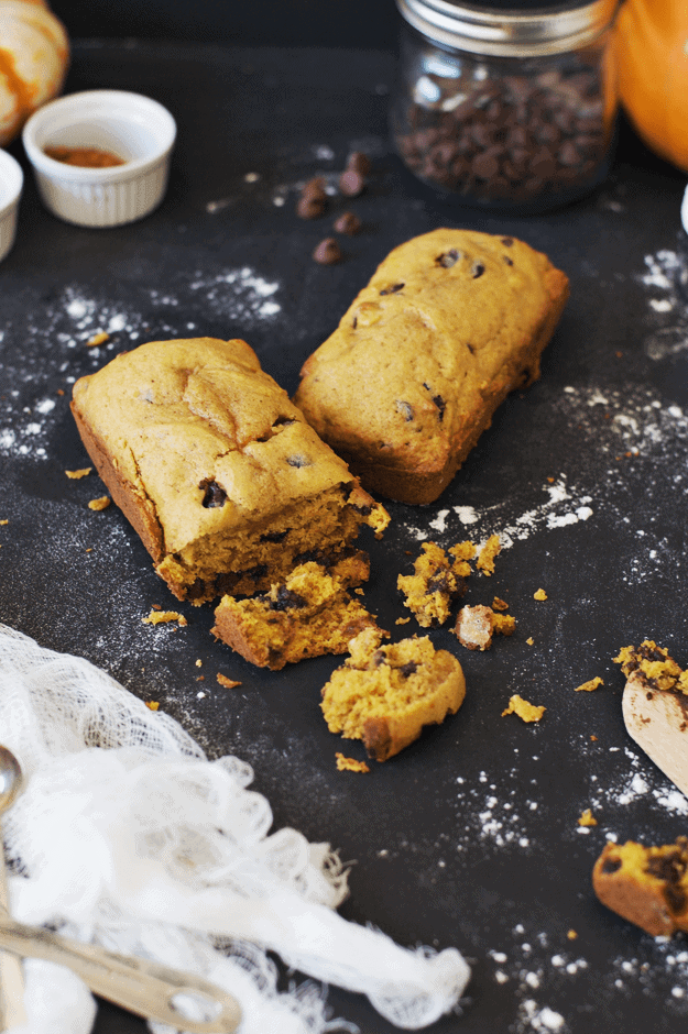 Pumpkin Chocolate Chip Harvest Bread | This loaf has the optimal balance of ingredients. Not too pumpkiny, the spice to sugar ratio hits the sweet spot, and the chocolate chips take it to next level baked good perfection. || The Butter Half #pumpkinrecipes #fallrecipes #pumpkinbread #breadrecipes #thebutterhalf