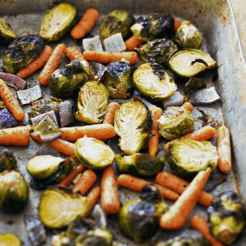 Savory Roasted Brussels Sprouts And Veggies | The Butter Half