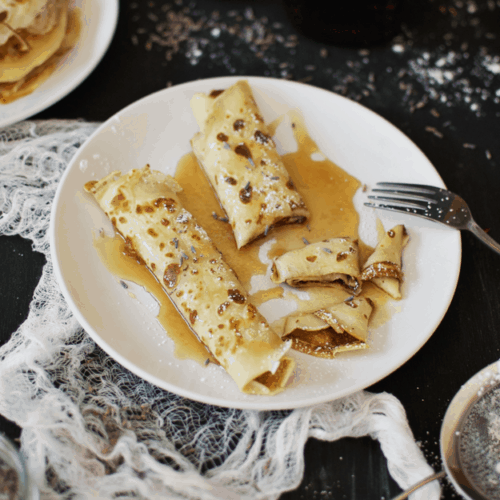 The Best Crepe Recipe With Lavender Maple Syrup