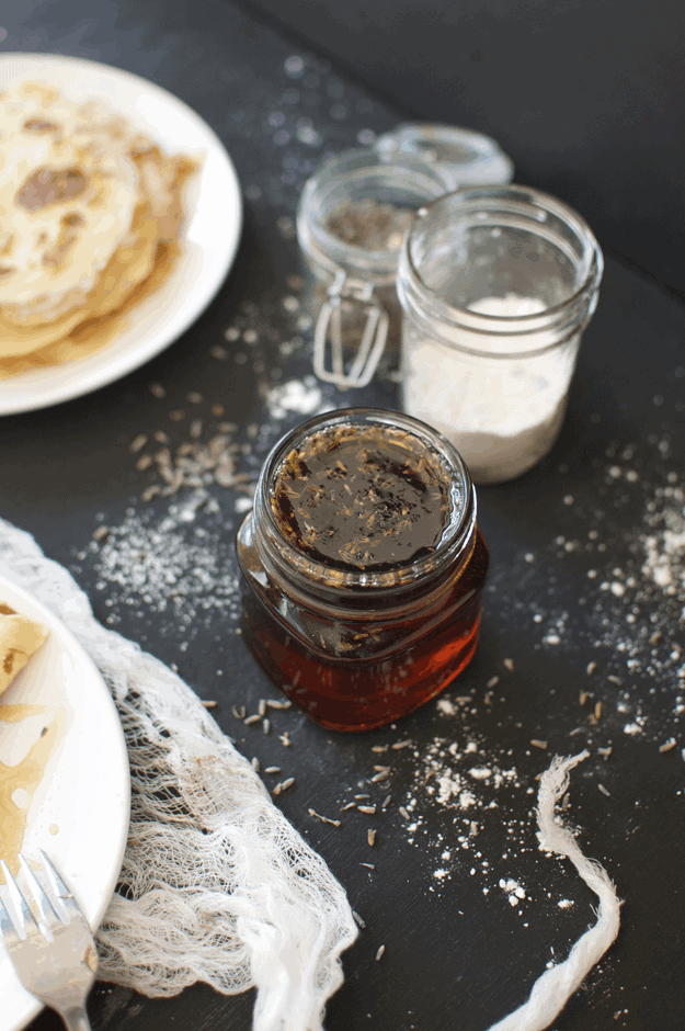 The Best Crepe Recipe With Homemade Lavender Maple Syrup | homemade crepe recipes, easy crepe recipe, homemade syrup recipe, easy syrup recipes, homemade breakfast recipes || The Butter Half via @thebutterhalf #creperecipe #homemadesyrup #easybreakfast
