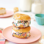Glazed Donut Ice Cream Sandwiches with Sprinkles | The Butter Half