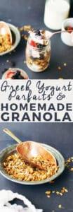 Greek Yogurt Parfaits with Homemade Granola | how to make a yogurt parfait, yogurt parfait recipe, homemade greek yogurt recipes, homemade parfait recipes, homemade granola recipe, how to make a parfait, how to make homemade granola, healthy breakfast recipes, breakfast recipes healthy, easy breakfast recipes, breakfast recipes using granola || The Butter Half via @thebutterhalf