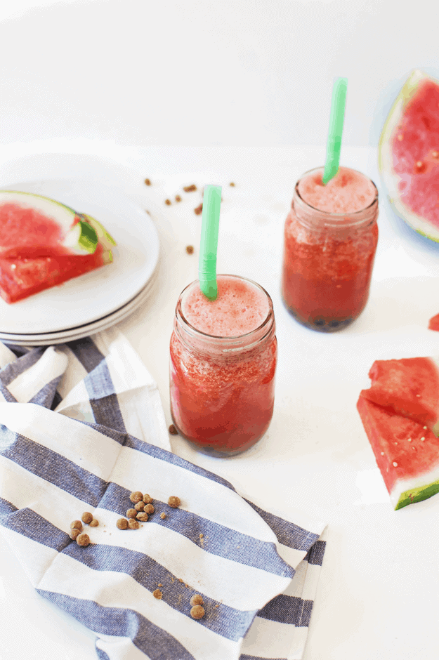 Watermelon Boba Slushie | homemade slushie recipes, how to make a slushie, watermelon flavored recipes, recipes using boba, boba recipe ideas, how to use boba, watermelon flavored recipes, easy slushie recipes || The Butter Half via @thebutterhalf