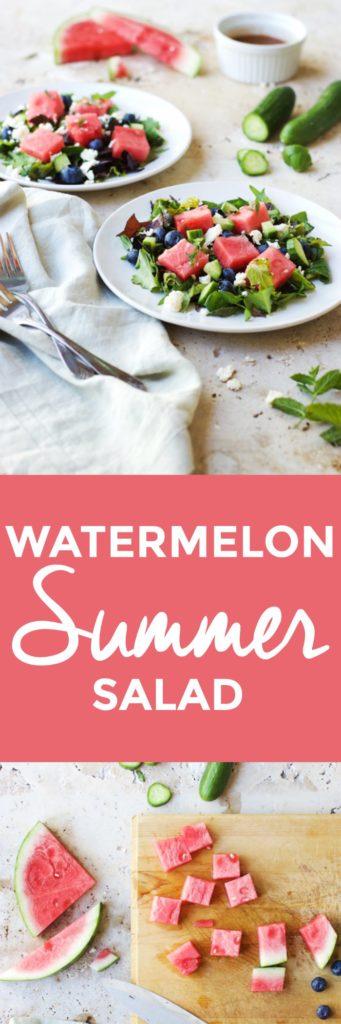 Fresh Watermelon Summer Salad | watermelon salad recipes, summer salad recipes, fruit salad recipes, salad recipes for summer, recipes using watermelon, watermelon recipe ideas, unique ways to watermelon, unique salad recipes, salad recipes using fruit || The Butter Half via @thebutterhalf