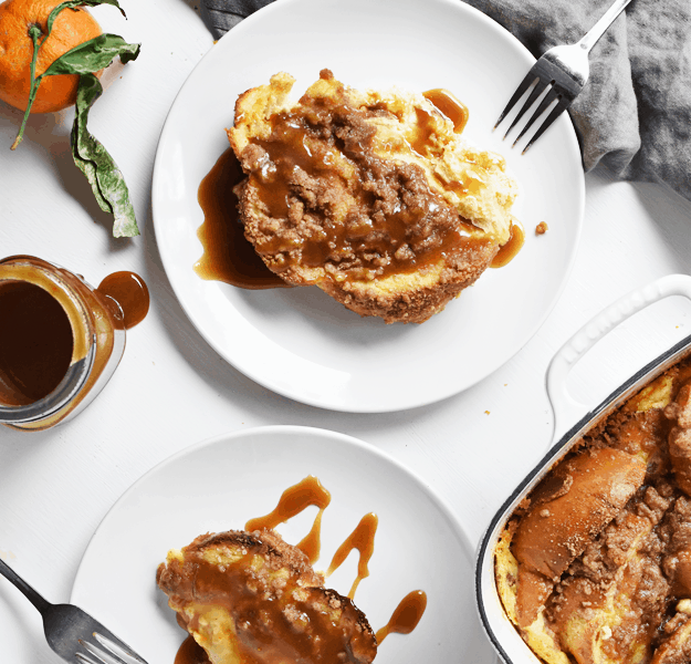 Baked French Toast with Orange Maple Syrup | thebutterhalf.com