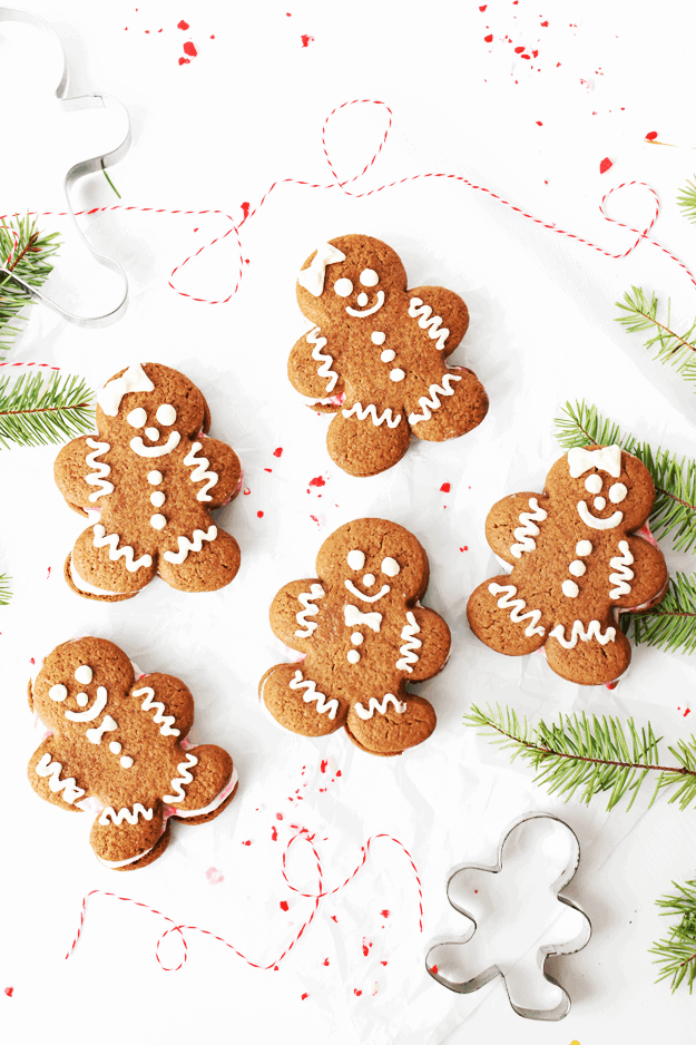 These Soft Gingerbread Man Cookies + Ice Cream Sandwiches are full of all things Christmas. The adorable and delicious gingerbread man cookies and the cool minty taste of peppermint ice cream combine a cookie that is ALMOST too cute to eat. Gluten-Free and kid friendly, these cookies will be the highlight of your Christmas parties! || The Butter Half #gingerbreadcookie #holidaycookies #christmascookies #thebutterhalf