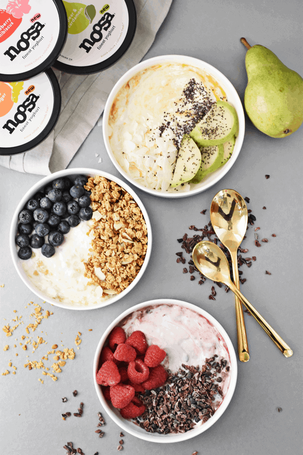 What's healthy, takes under 5 minutes to make, and looks as beautiful as it tastes? Ding ding! You got it. The answer is these 3-ingredient yogurt breakfast bowls—made 3 different ways! || The Butter Half #yogurtbowl #healthybreakfast #yogurtbreakfast #breakfast #thebutterhalf