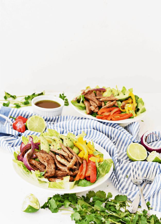 Chipotle Lime Steak Fajita Salad   thebutterhalf.com