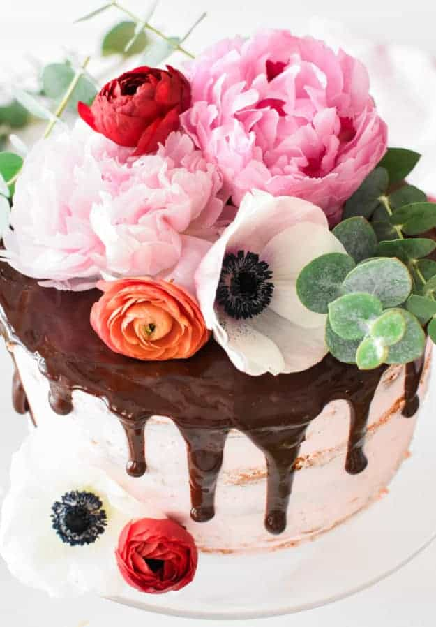 Chocolate Covered Strawberry Birthday Cake with Fresh Flowers The