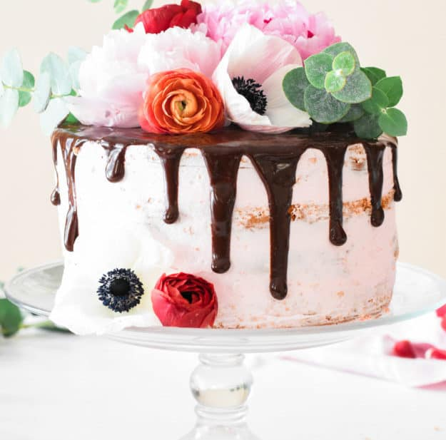 Chocolate Covered Strawberry Birthday Cake with Fresh Flowers | The Butter Half