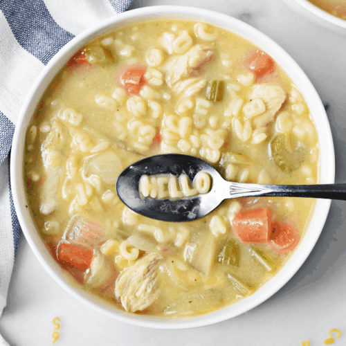 One Pot Homemade Chicken Noodle Alphabet Soup | one pot recipes, chicken noodle soup recipes, kid-friendly soup recipes, homemade alphabet soup, fun soup recipes, fall soup recipes, cool weather recipes, homemade soups and stews || The Butter Half via @thebutterhalf