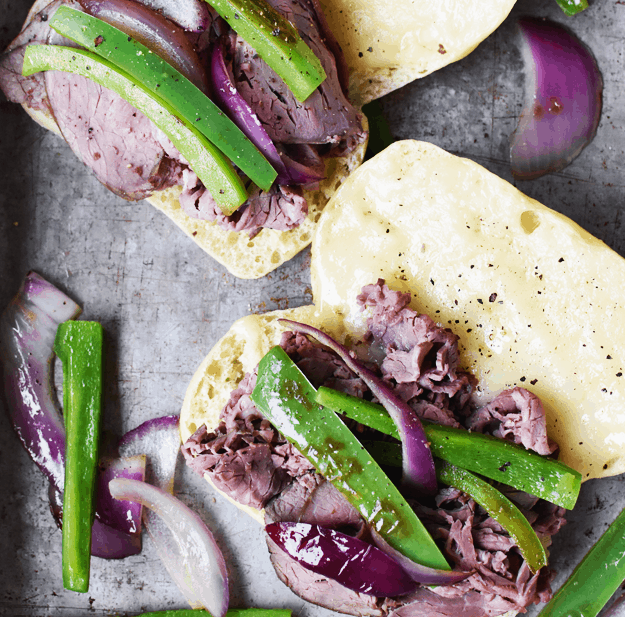 15-Minute Roast Beef Dip Sandwiches with Purple Sweet Potato Fries | The Butter Half