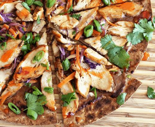 Thai Grilled Chicken Pizza | homemade pizza recipes, pizza recipe ideas, how to make a homemade pizza, thai inspired recipes, recipes using chicken, chicken pizza recipes, easy pizza recipes, family friendly recipes || The Butter Half via @thebutterhalf