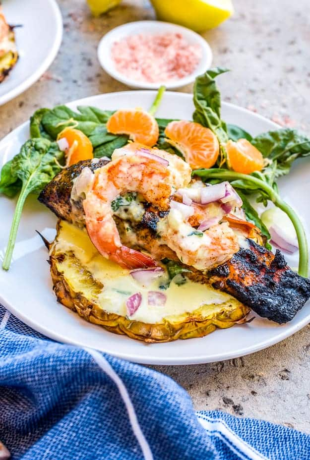 How to Make Grilled Salmon Tropical with Creamy Mango Salad Dressing | grilled salmon, fresh salmon recipes, how to grill salmon, recipes using fresh salmon, grilled salmon recipe, salmon recipes, mango salad dressing, easy healthy dinner ideas, easy dinner recipes for family, healthy dinner ideas #grilledsalmon #mangosaladdressing #quickdinnerrecipe #thebutterhalf || The Butter Half