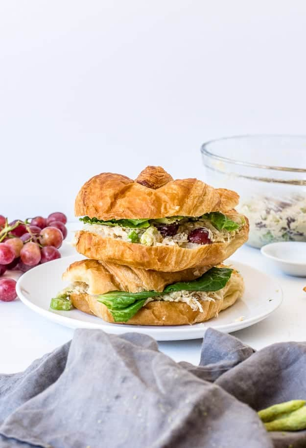 Stack of chicken salad sandwiches