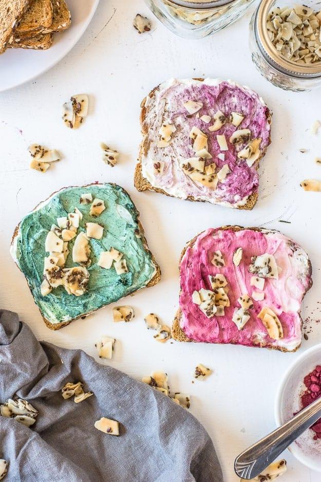 How to Make Superfood Mermaid Toast | unicorn toast, unicorn food, mermaid food, fun breakfast ideas, healthy breakfast ideas, quick healthy breakfast, fun food, fun food for kids, bare snacks, fun breakfast recipes, breakfast recipes for kids, mermaid themed recipes, fun food recipes, fun toast recipes, toast recipe ideas #mermaidtoast #breakfastrecipesforkids #funfoodrecipes || The Butter Half via @thebutterhalf