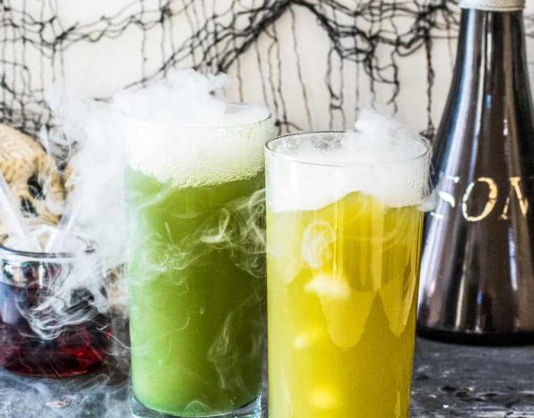 Halloween Zombie Punch Recipe | halloween recipes, halloween punch recipes, halloween drink recipes, family friendly halloween drinks, non-alcoholic halloween drinks, halloween party recipes, zombie recipe ideas, #halloweendrinks || The Butter Half via @thebutterhalf