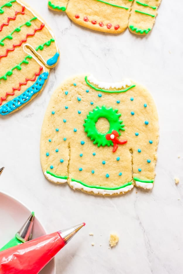 essential items you need to decorate ugly christmas sweater cookies