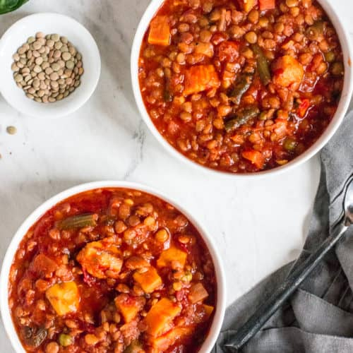 Instant Pot Vegetable Soup with Sweet Potatoes and Lentils (Vegan + Gluten-Free)