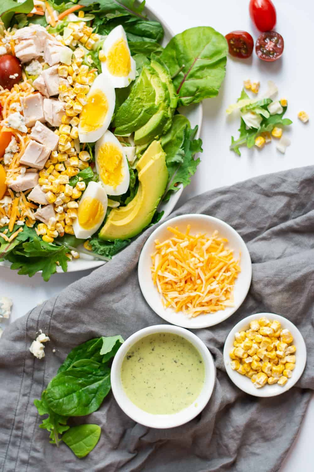 5-Minute Rotisserie Chicken Cobb Salad Recipe (Gluten Free) | Cobb Salad Recipe, Rotisserie Chicken Recipe Idea, Healthy Salad Recipe, 5-Minute Dinner Recipe, Quick Dinner Recipe, Gluten Free Dinner Recipe #cobbsalad #5minutedinner #quickdinnerrecipe || The Butter Half via @thebutterhalf