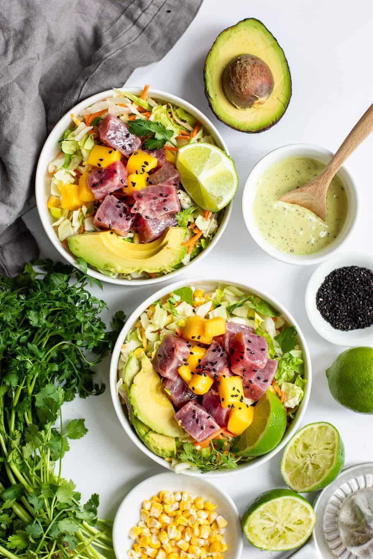 Avocado Ranch Ahi Tuna Poke Bowl with Mango (Gluten Free) | Gluten Free Recipes, Avocado Ranch Dressing, Ahi Tuna Poke Bowl with Mango, Healthy Salad Recipes, Poke Bowl Recipes, Fresh Fish Recipes, Avocado Recipes, Taylor Farms, Salads with Mango #healthysaladrecipe #avocadoranch #ahitunasalad || The Butter Half via @thebutterhalf