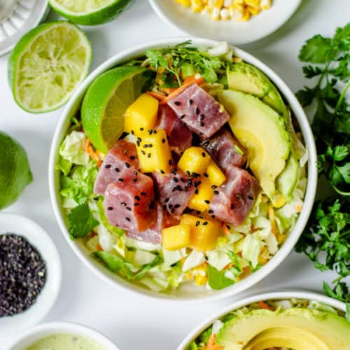 Avocado Ranch Ahi Tuna Poke Bowl with Mango (Gluten Free)