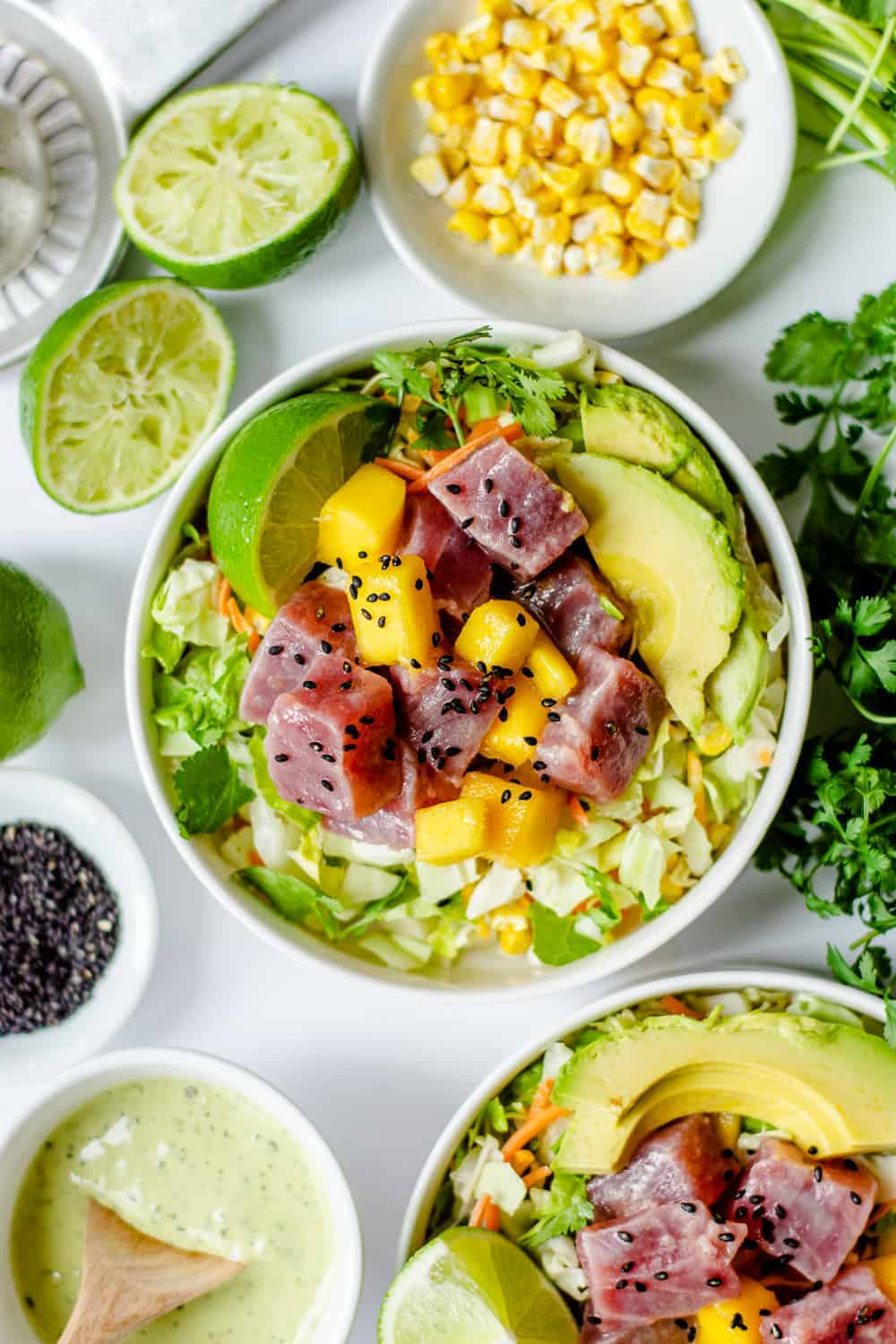Avocado Ranch Ahi Tuna Poke Bowl with Mango (Gluten Free)