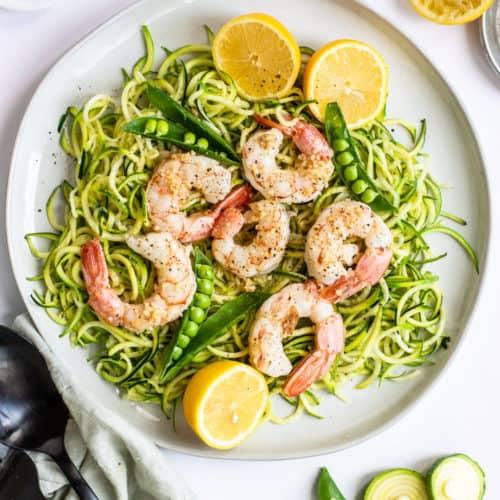 Easy Lemon Garlic Shrimp Zoodles