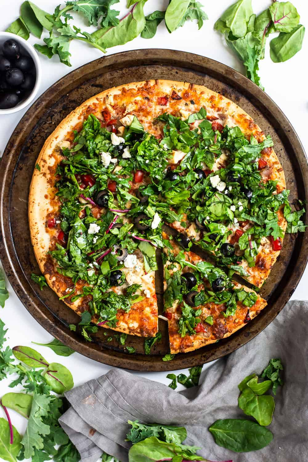 Easy Spinach and Tuscan Chicken Chopped Salad Pizza (Gluten Free)
