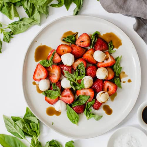 Refreshing Strawberry Caprese Salad (Gluten-Free + Vegetarian)
