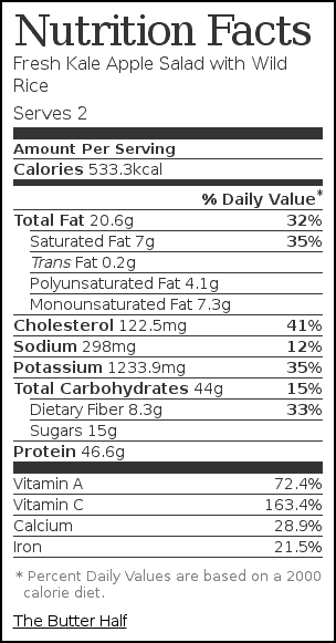Nutrition label for Fresh Kale Apple Salad with Wild Rice