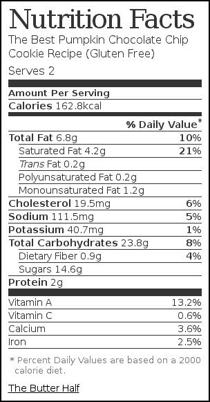 Nutrition label for The Best Pumpkin Chocolate Chip Cookie Recipe (Gluten Free)